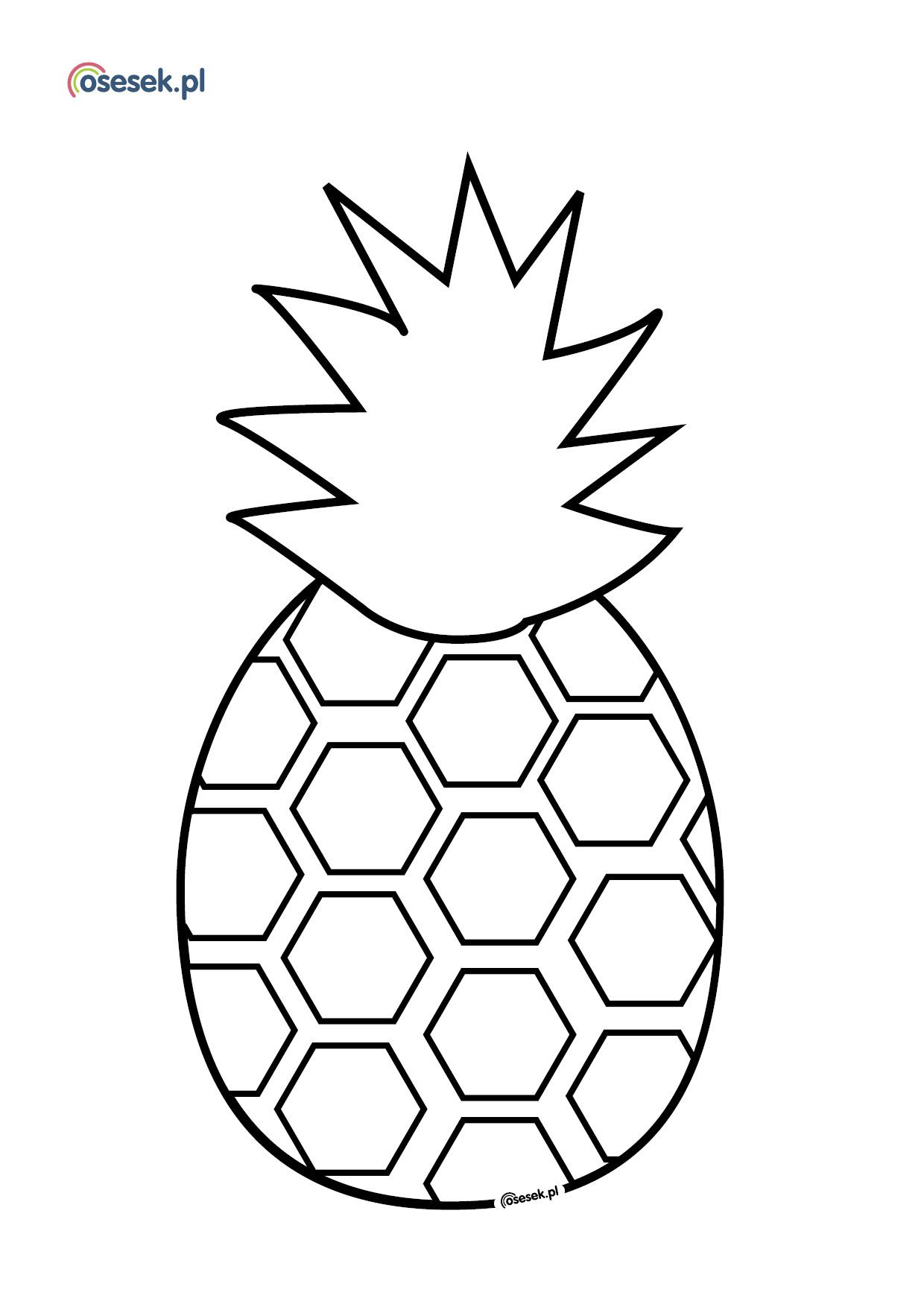 Ananas Rysunek ananas - kolorowanka dla dzieci do druku - osesek.pl