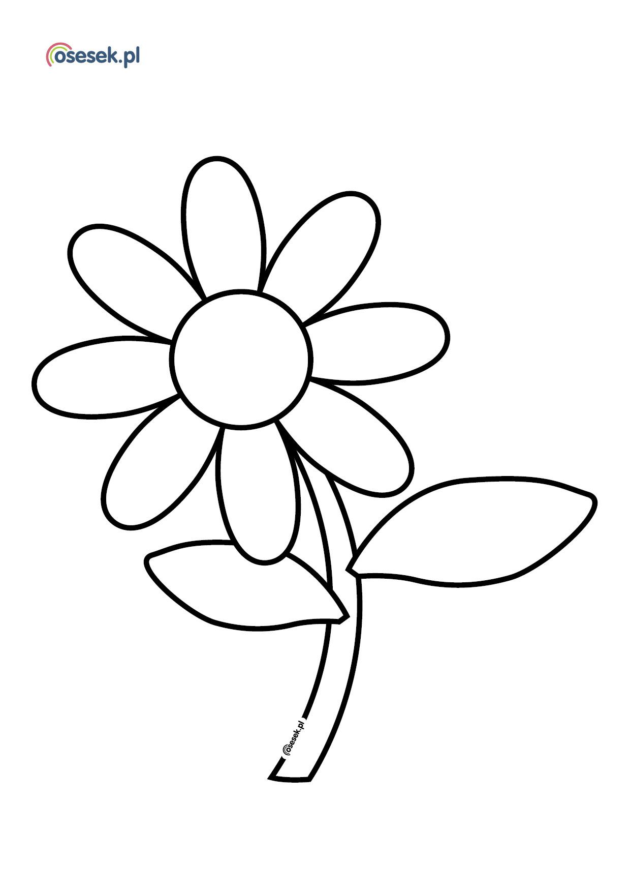 Kwiatek Kolorowanka Dla Dzieci Do Druku Osesek Pl