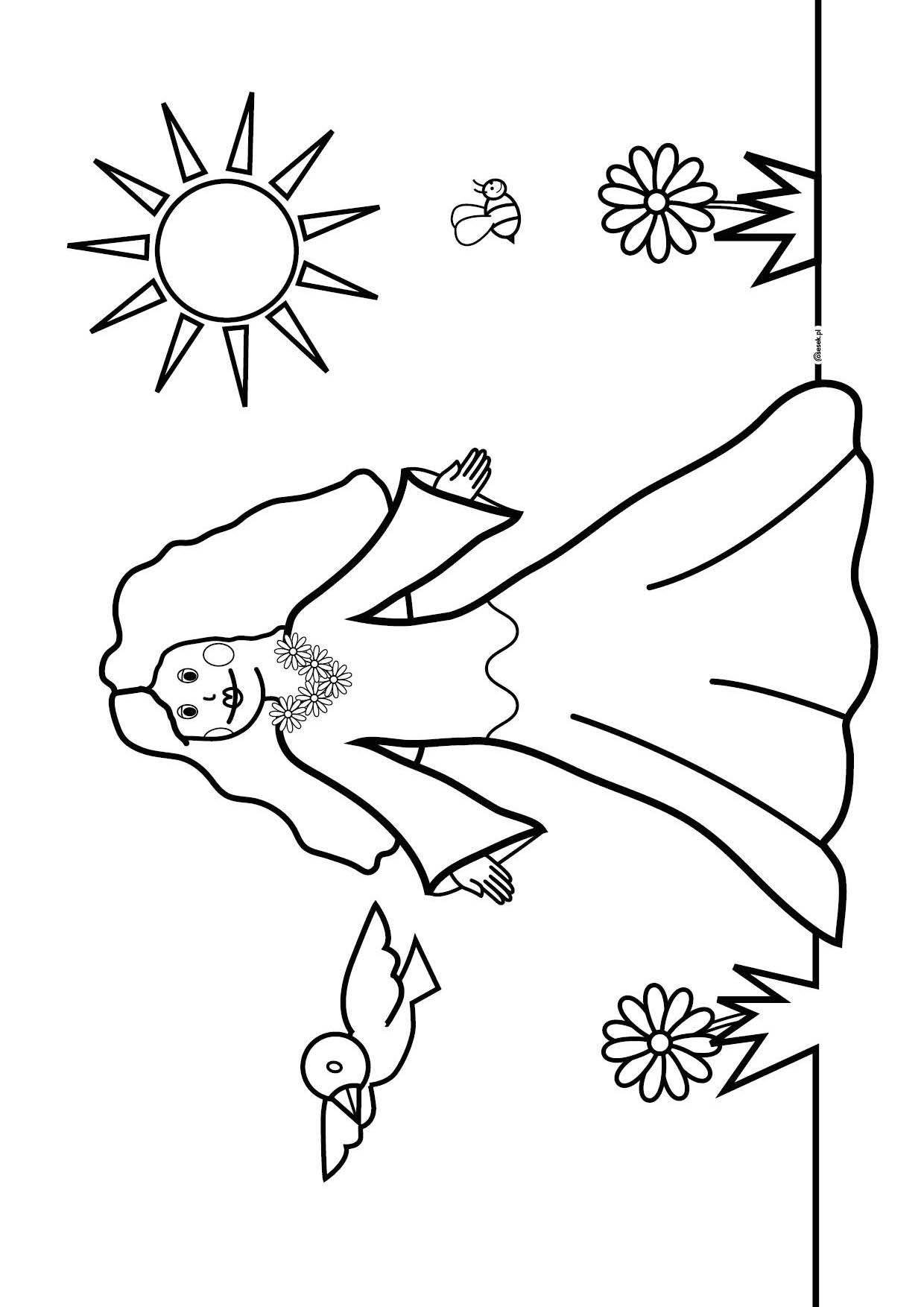 Pani Wiosna Kolorowanka Dla Dzieci Do Druku Osesek Pl