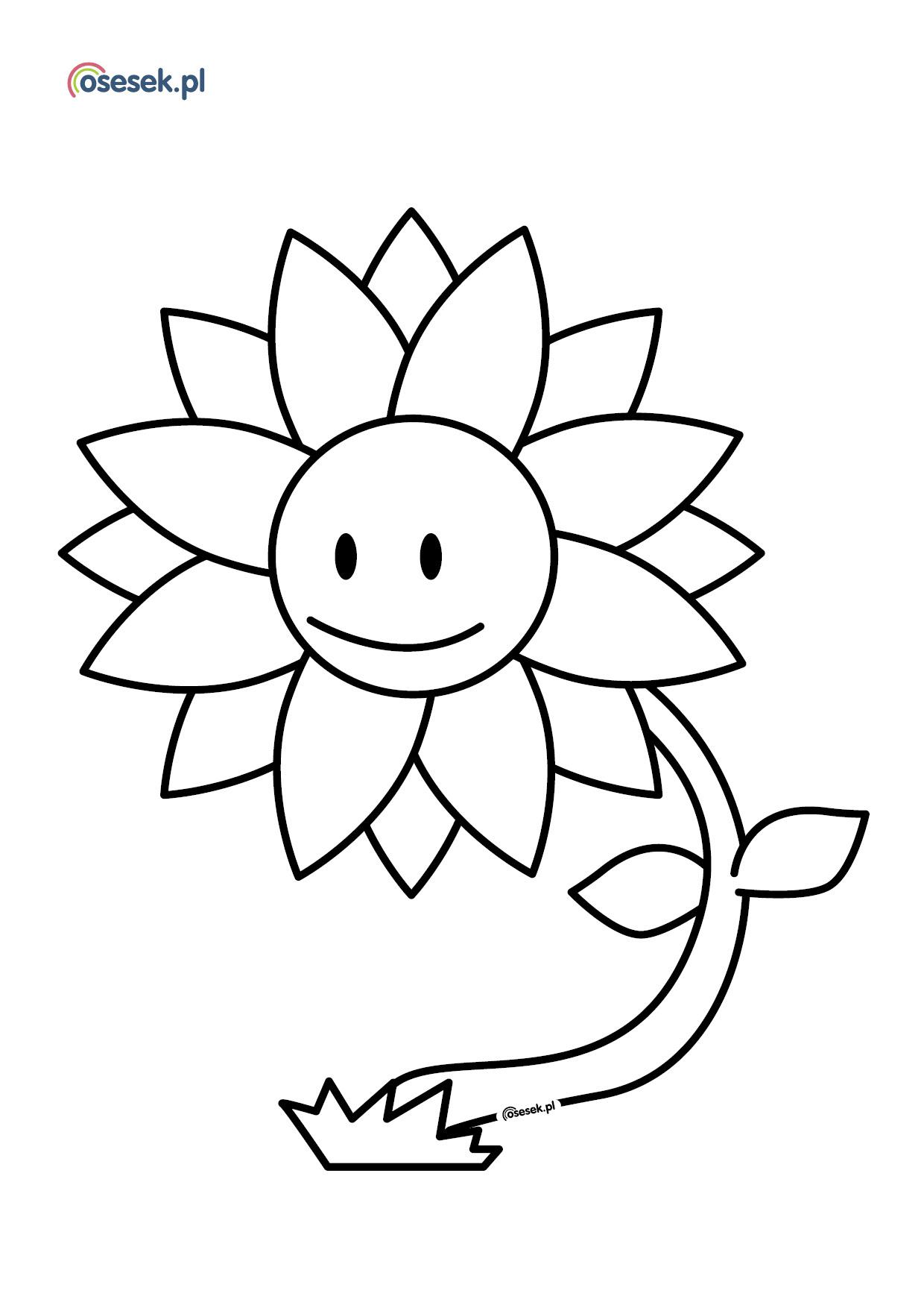 Wesoly Kwiatek Kolorowanka Dla Dzieci Do Druku Osesek Pl